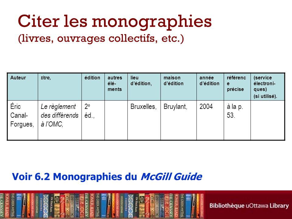 Citer les monographies (livres, ouvrages collectifs, etc.) Auteurtitre,éditionautres élé- ments lieu dédition, maison dédition année dédition référenc