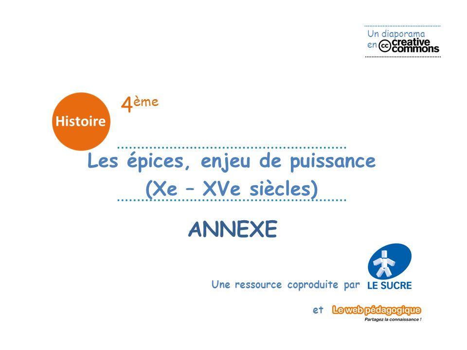 Un diaporama en Une ressource coproduite par et 4 ème Histoire ANNEXE Les épices, enjeu de puissance (Xe – XVe siècles)
