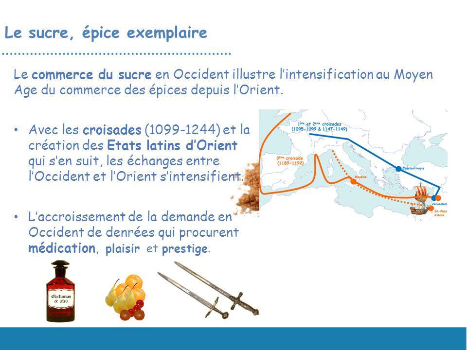 Le sucre, épice exemplaire Le commerce du sucre en Occident illustre lintensification au Moyen Age du commerce des épices depuis lOrient. Avec les cro