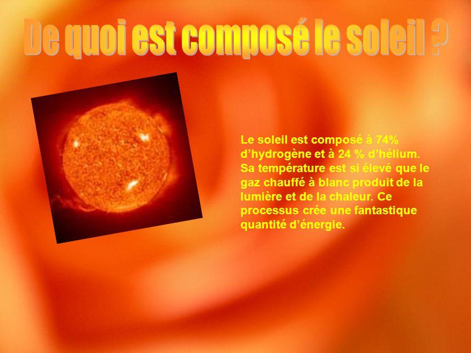 Le soleil est composé à 74% dhydrogène et à 24 % dhélium. Sa température est si élevé que le gaz chauffé à blanc produit de la lumière et de la chaleu