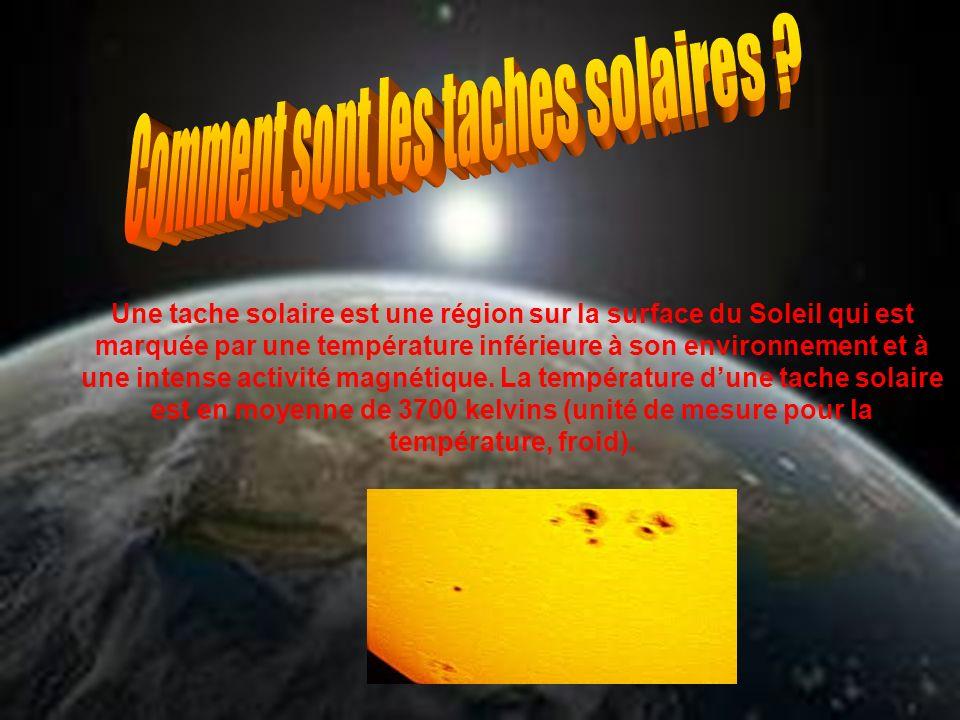 Une tache solaire est une région sur la surface du Soleil qui est marquée par une température inférieure à son environnement et à une intense activité