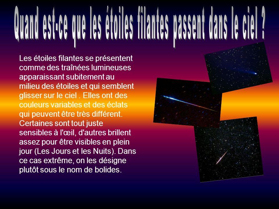Les étoiles filantes se présentent comme des traînées lumineuses apparaissant subitement au milieu des étoiles et qui semblent glisser sur le ciel.