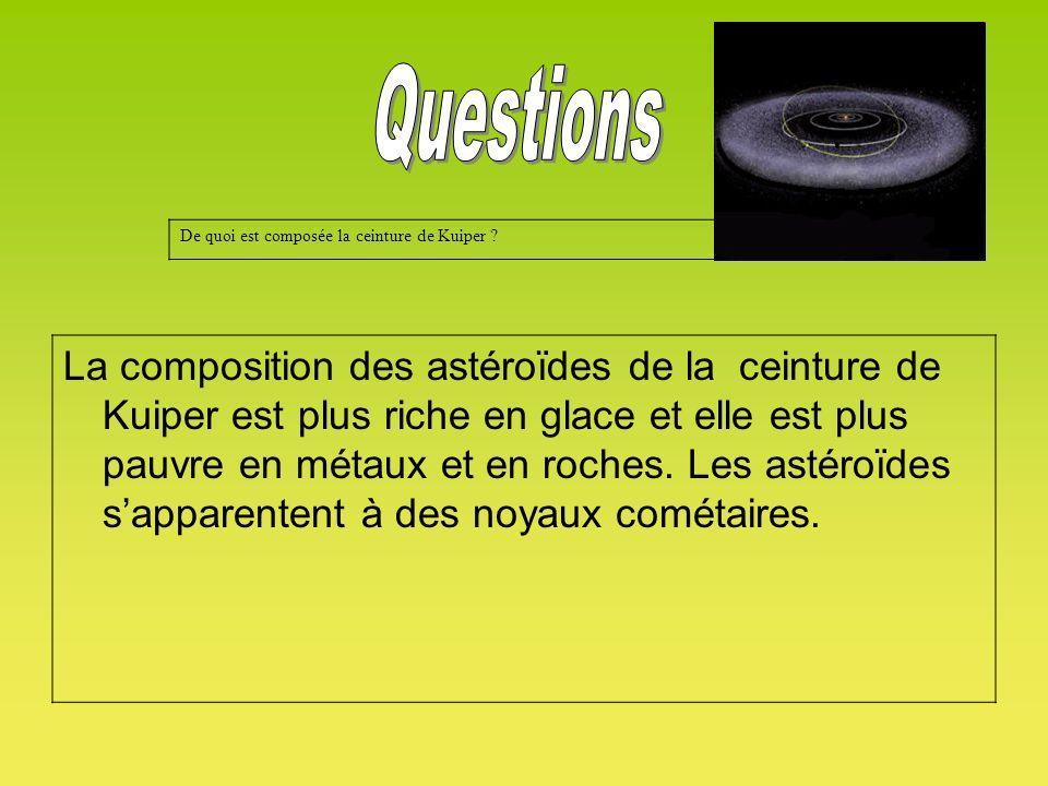 De quoi est composée la ceinture de Kuiper ? La composition des astéroïdes de la ceinture de Kuiper est plus riche en glace et elle est plus pauvre en