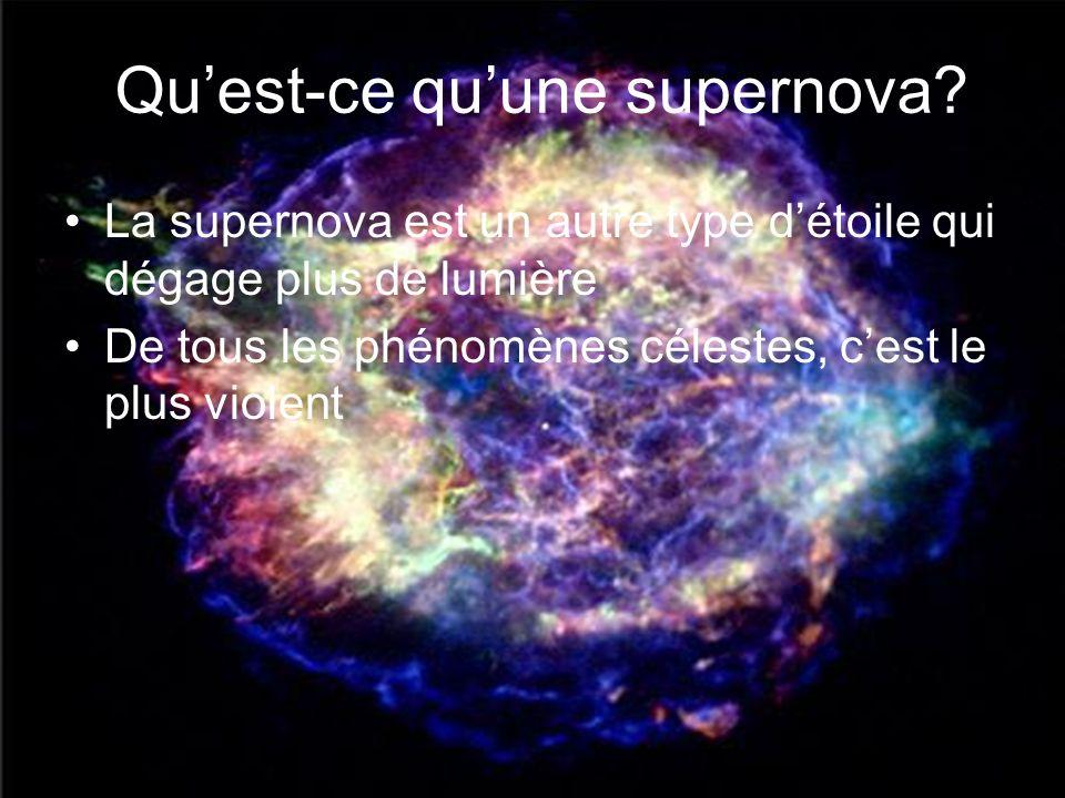 Quest-ce quune supernova? La supernova est un autre type détoile qui dégage plus de lumière De tous les phénomènes célestes, cest le plus violent