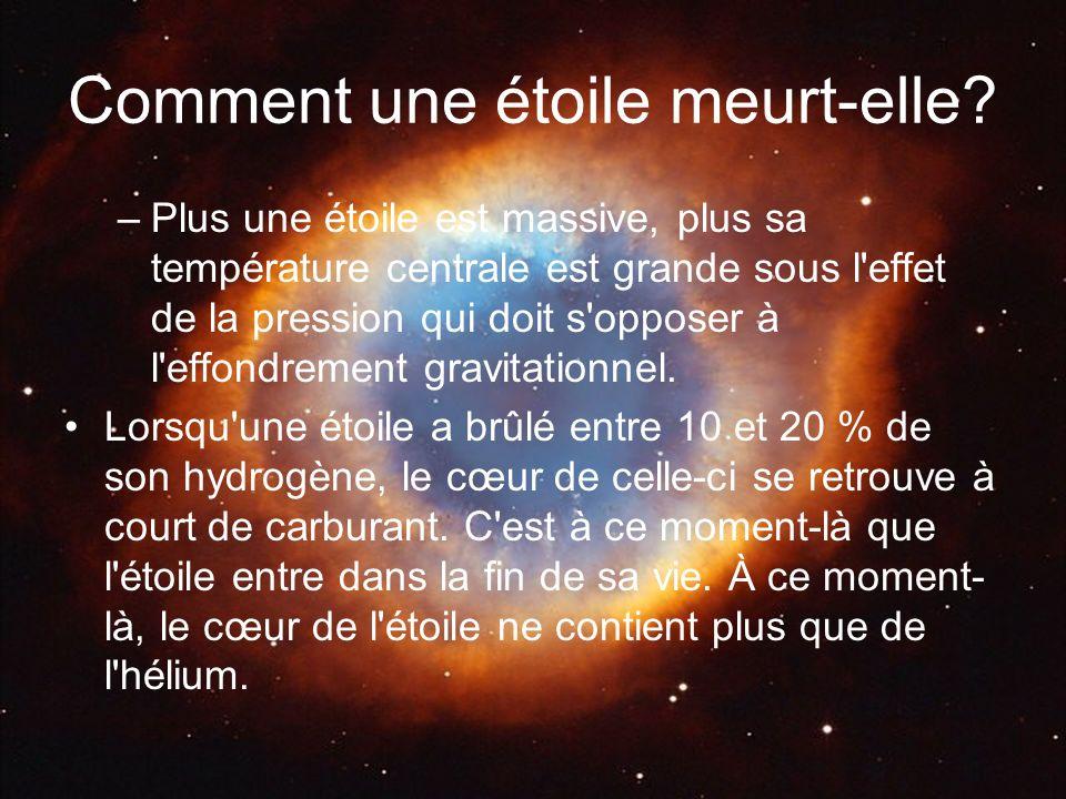 Comment une étoile meurt-elle? –Plus une étoile est massive, plus sa température centrale est grande sous l'effet de la pression qui doit s'opposer à