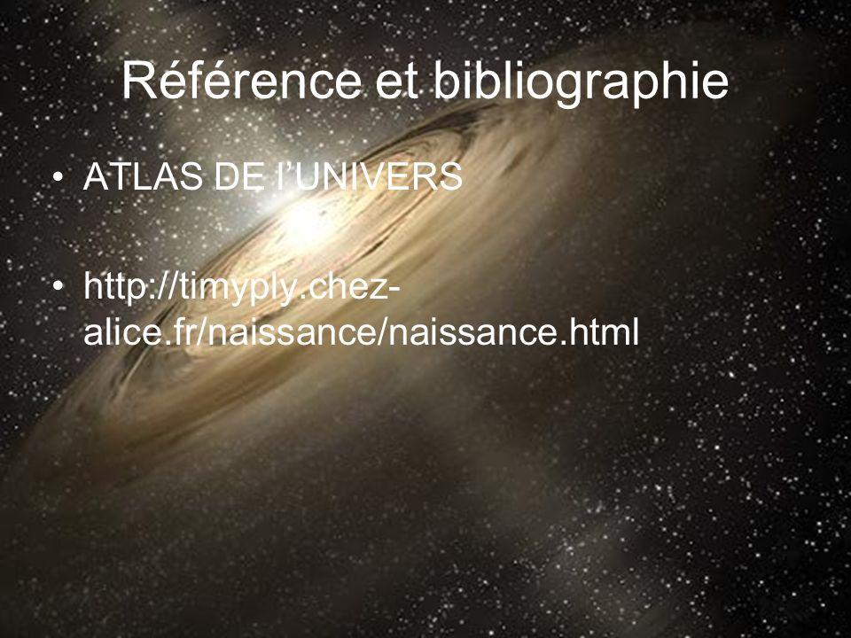 Référence et bibliographie ATLAS DE lUNIVERS http://timyply.chez- alice.fr/naissance/naissance.html