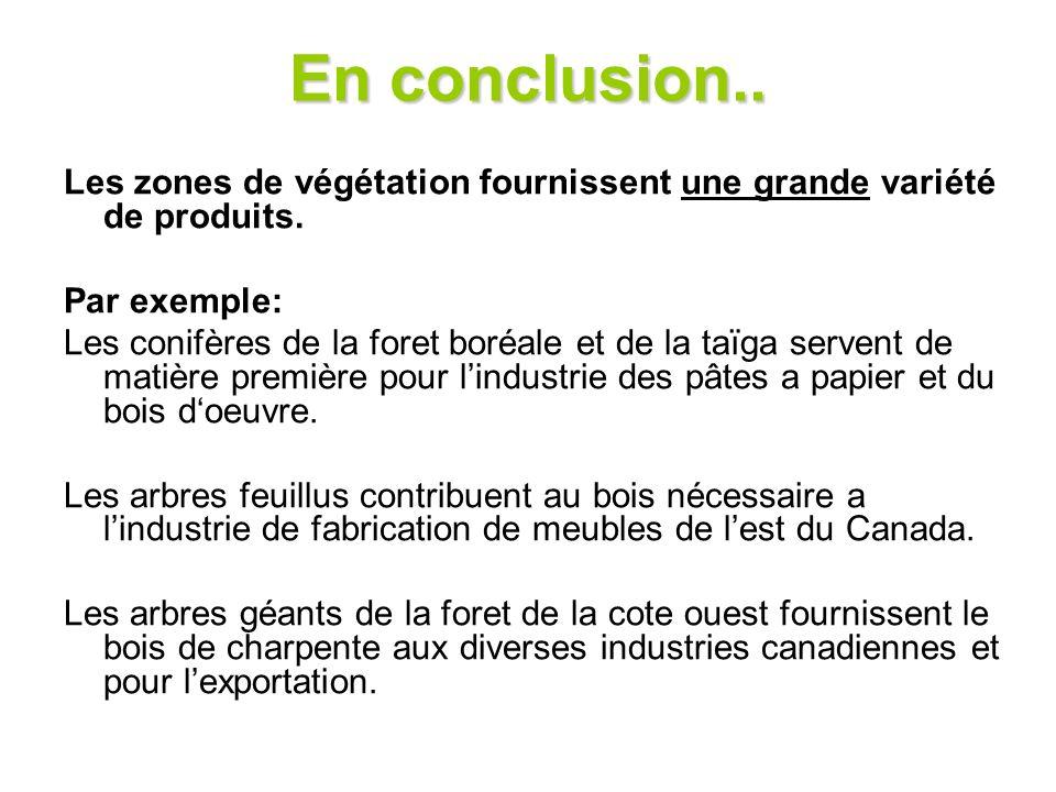 En conclusion.. Les zones de végétation fournissent une grande variété de produits. Par exemple: Les conifères de la foret boréale et de la taïga serv