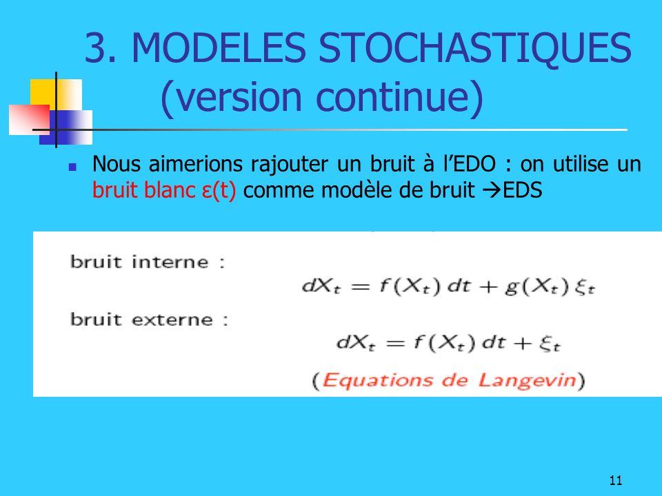 11 3. MODELES STOCHASTIQUES (version continue) Nous aimerions rajouter un bruit à lEDO : on utilise un bruit blanc ε(t) comme modèle de bruit EDS