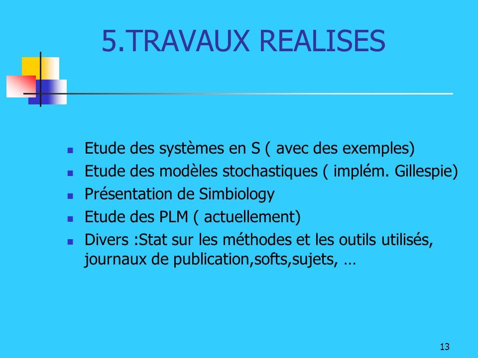 13 5.TRAVAUX REALISES Etude des systèmes en S ( avec des exemples) Etude des modèles stochastiques ( implém. Gillespie) Présentation de Simbiology Etu