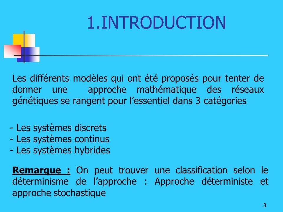 3 1.INTRODUCTION Les différents modèles qui ont été proposés pour tenter de donner une approche mathématique des réseaux génétiques se rangent pour le