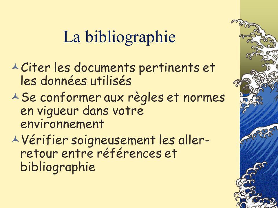 La bibliographie Citer les documents pertinents et les données utilisés Se conformer aux règles et normes en vigueur dans votre environnement Vérifier