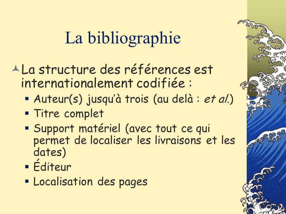 La bibliographie La structure des références est internationalement codifiée : Auteur(s) jusquà trois (au delà : et al.) Titre complet Support matérie