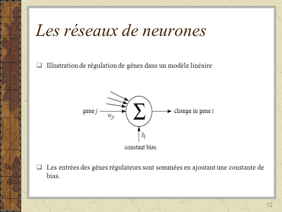 12 Illustration de régulation de gènes dans un modèle linéaire Les entrées des gènes régulateurs sont sommées en ajoutant une constante de bias. Les r