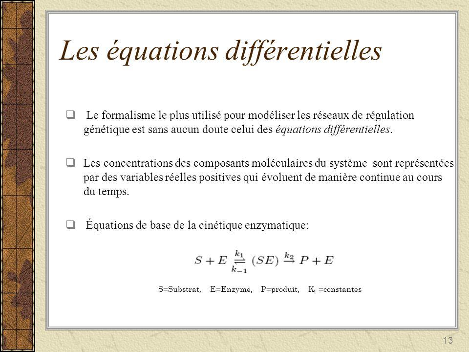 13 Les équations différentielles Le formalisme le plus utilisé pour modéliser les réseaux de régulation génétique est sans aucun doute celui des équat