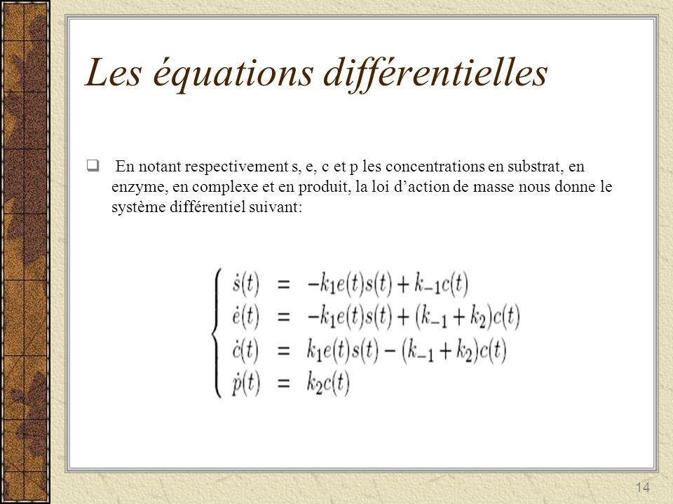 14 Les équations différentielles En notant respectivement s, e, c et p les concentrations en substrat, en enzyme, en complexe et en produit, la loi da