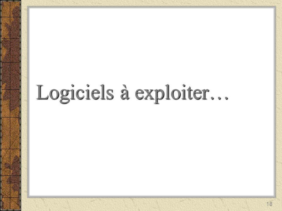 18 Logiciels à exploiter…