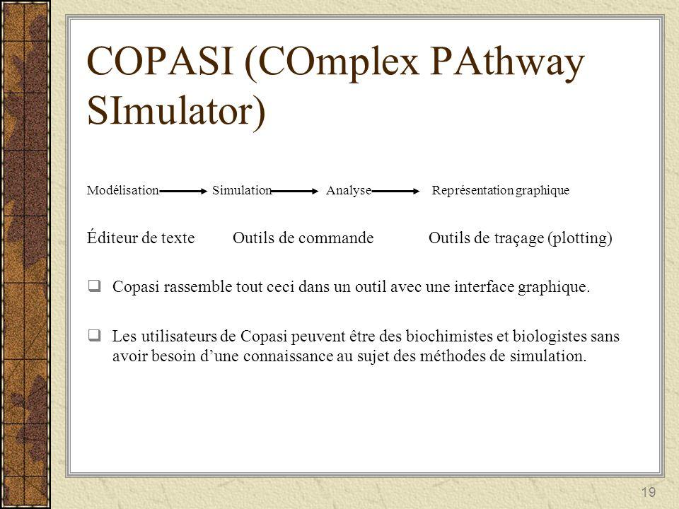 19 COPASI (COmplex PAthway SImulator) Modélisation Simulation Analyse Représentation graphique Éditeur de texte Outils de commande Outils de traçage (