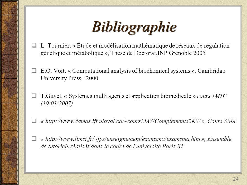 24 Bibliographie L. Tournier, « Étude et modélisation mathématique de réseaux de régulation génétique et métabolique », Thèse de Doctorat,INP Grenoble