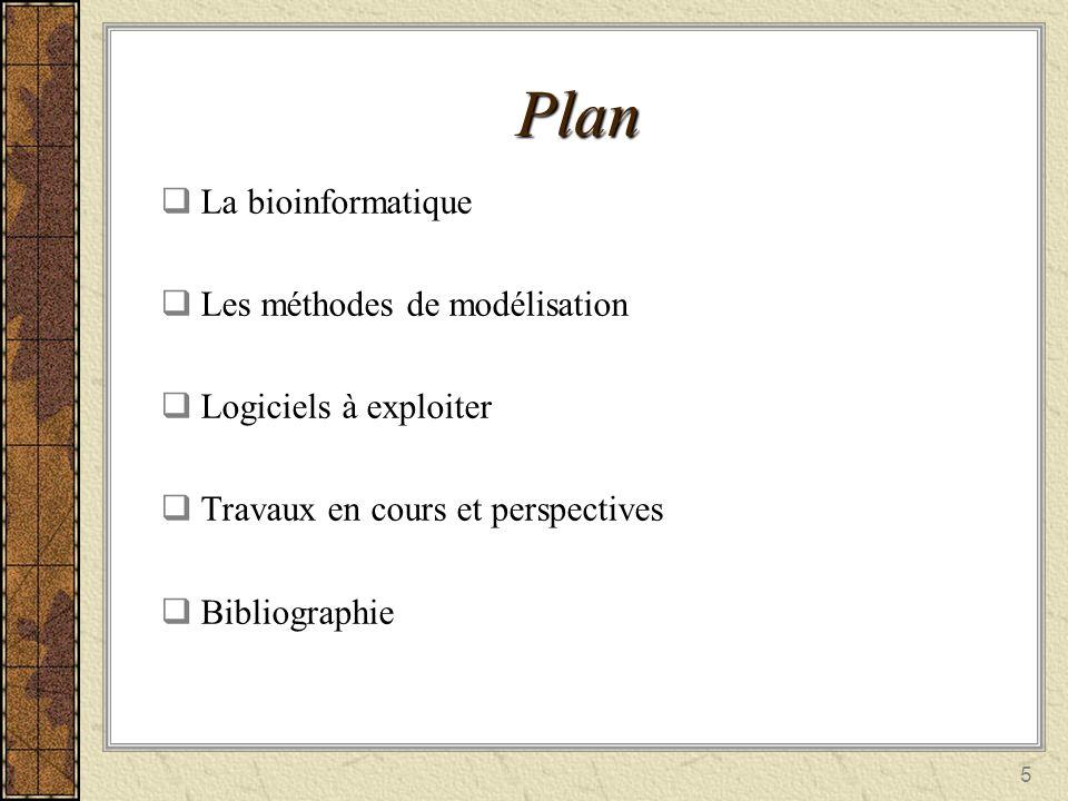 5 Plan La bioinformatique La bioinformatique Les méthodes de modélisation Les méthodes de modélisation Logiciels à exploiter Logiciels à exploiter Tra