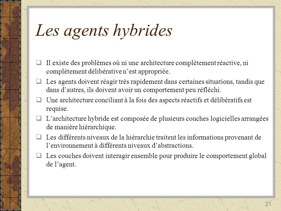 21 Les agents hybrides Il existe des problèmes où ni une architecture complètement réactive, ni complètement délibérative nest appropriée. Il existe d