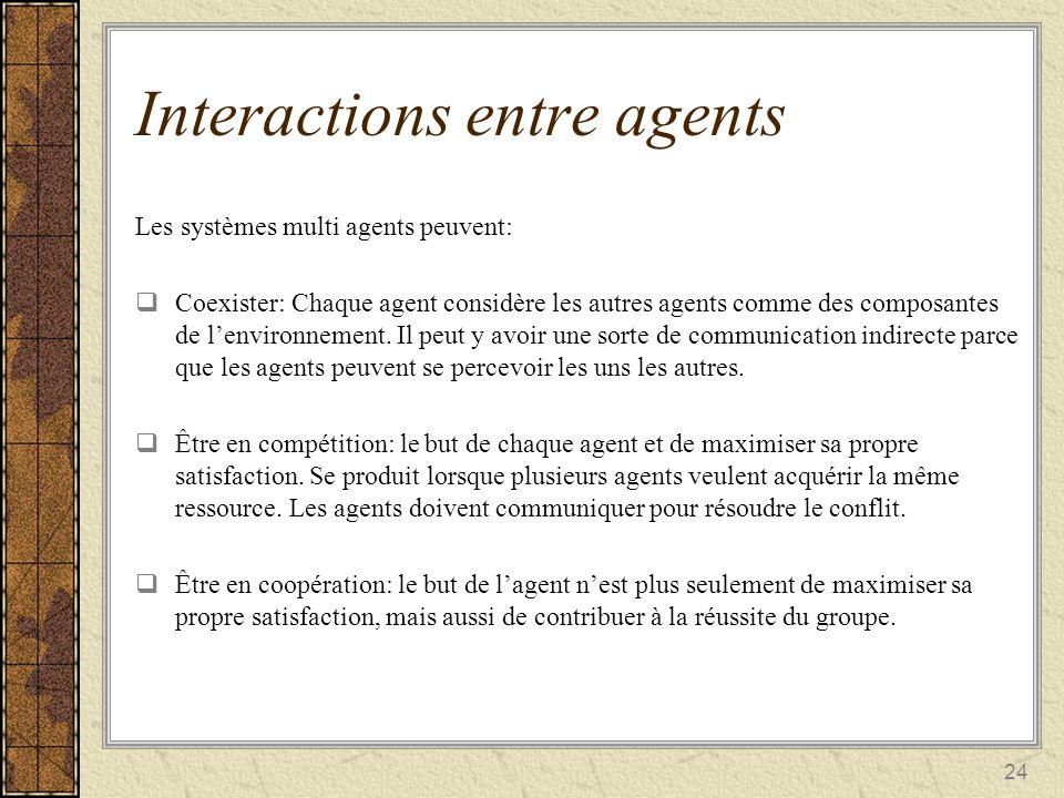 24 Interactions entre agents Les systèmes multi agents peuvent: Coexister: Chaque agent considère les autres agents comme des composantes de lenvironn