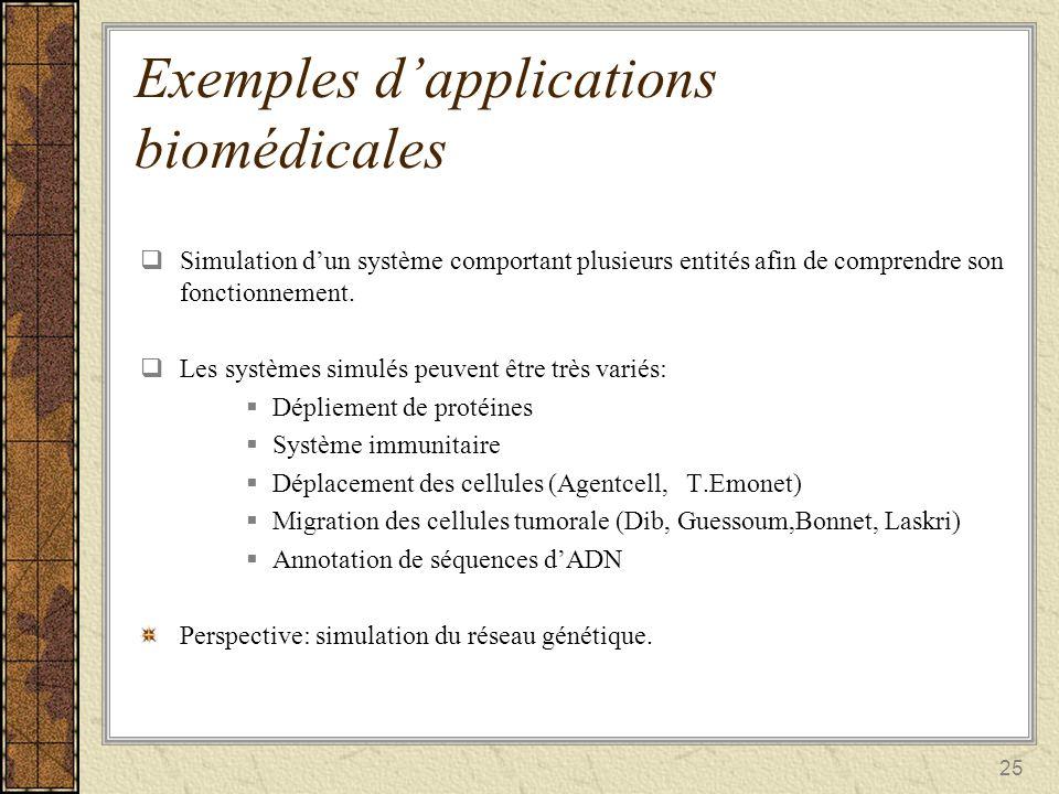 25 Exemples dapplications biomédicales Simulation dun système comportant plusieurs entités afin de comprendre son fonctionnement. Simulation dun systè