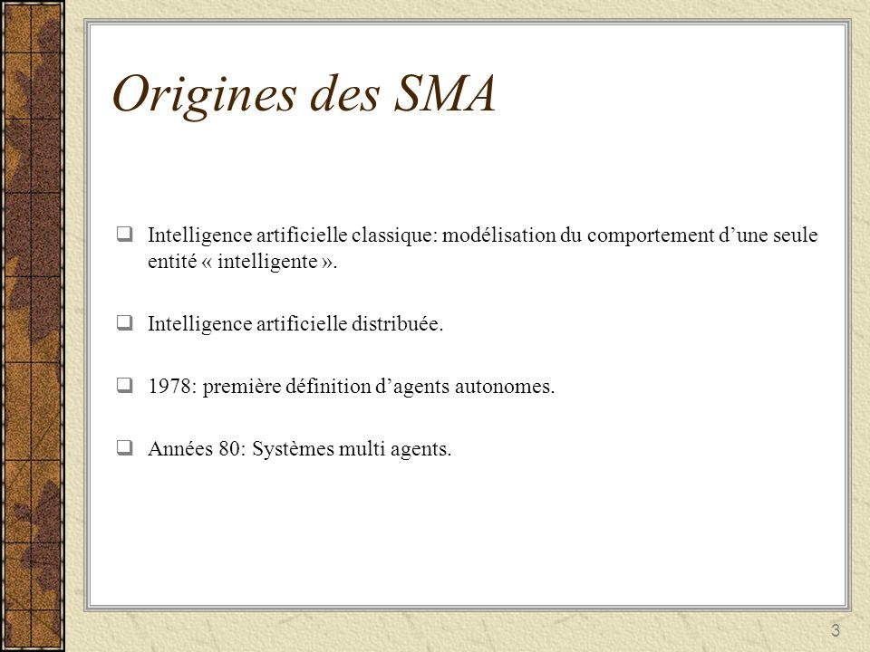 3 Origines des SMA Intelligence artificielle classique: modélisation du comportement dune seule entité « intelligente ». Intelligence artificielle cla