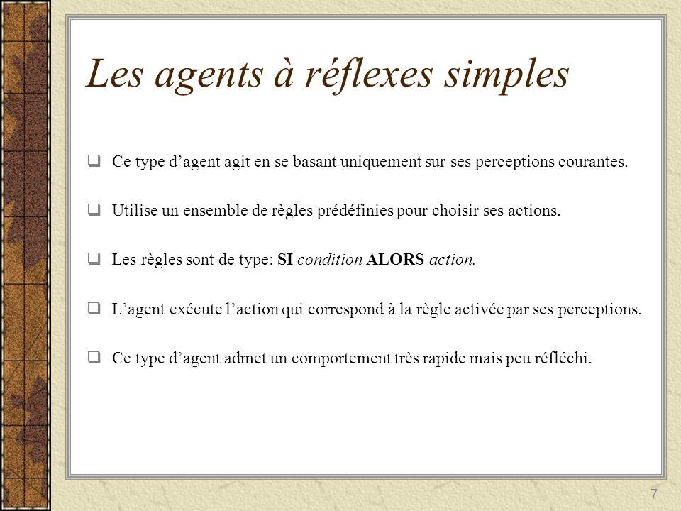 7 Les agents à réflexes simples Ce type dagent agit en se basant uniquement sur ses perceptions courantes. Ce type dagent agit en se basant uniquement
