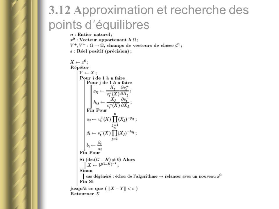 3.12 A pproximation et recherche des points d´équilibres