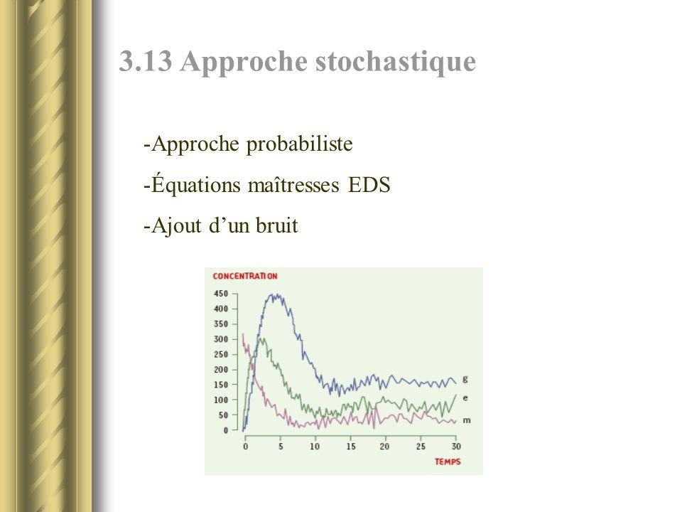 3.13 Approche stochastique -Approche probabiliste -Équations maîtresses EDS -Ajout dun bruit