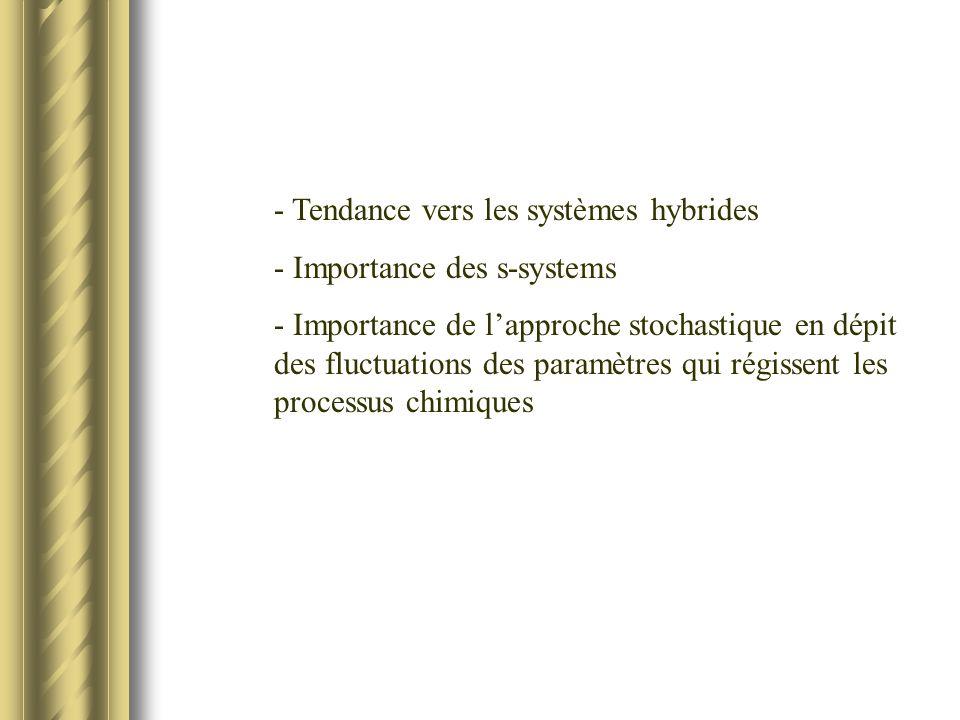 - Tendance vers les systèmes hybrides - Importance des s-systems - Importance de lapproche stochastique en dépit des fluctuations des paramètres qui régissent les processus chimiques
