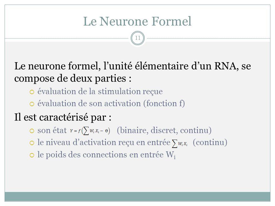 Le Neurone Formel Le neurone formel, lunité élémentaire dun RNA, se compose de deux parties : évaluation de la stimulation reçue évaluation de son act