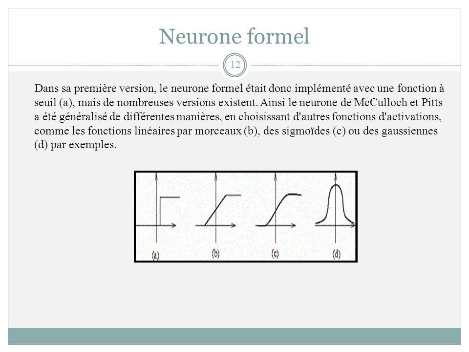 Neurone formel Dans sa première version, le neurone formel était donc implémenté avec une fonction à seuil (a), mais de nombreuses versions existent.