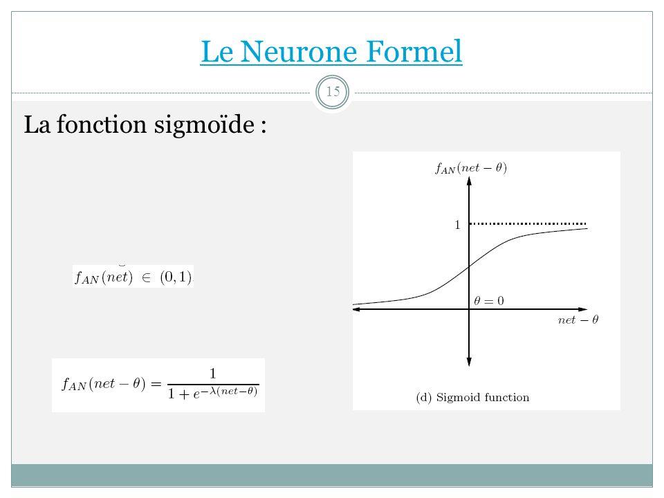 La fonction sigmoïde : Le Neurone Formel 15
