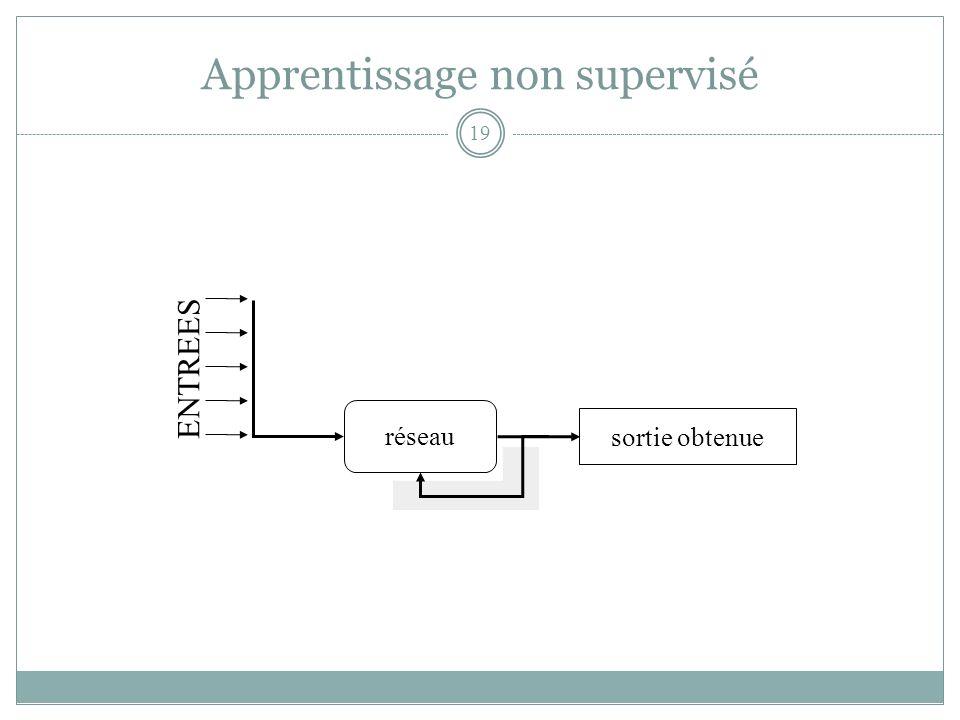 Apprentissage non supervisé réseau sortie obtenue ENTREES 19