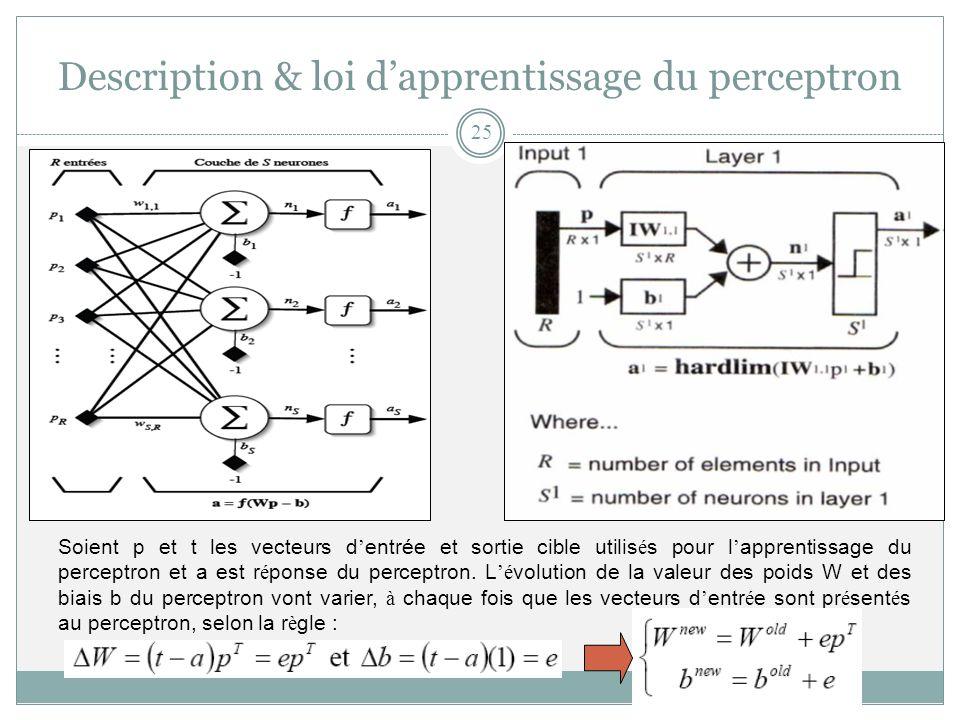 Soient p et t les vecteurs d entrée et sortie cible utilis é s pour l apprentissage du perceptron et a est r é ponse du perceptron. L é volution de la