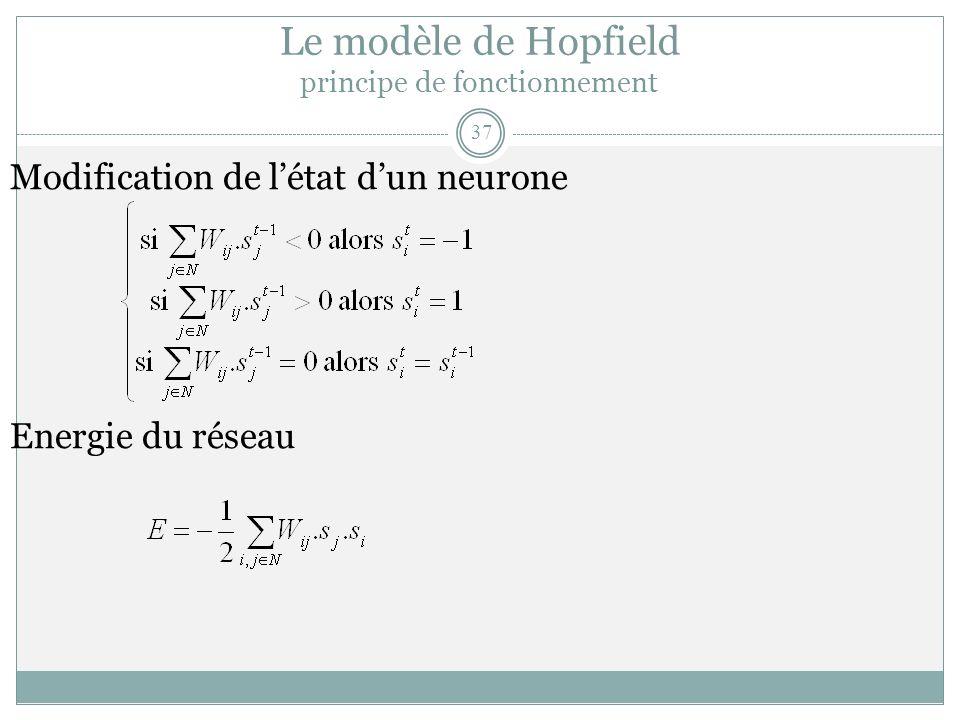 Le modèle de Hopfield principe de fonctionnement Modification de létat dun neurone Energie du réseau 37