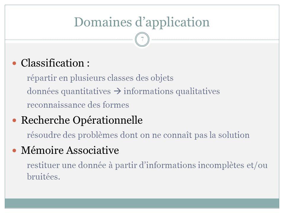 Domaines dapplication Classification : répartir en plusieurs classes des objets données quantitatives informations qualitatives reconnaissance des for