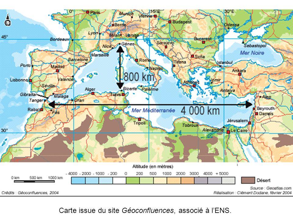 Carte issue du site Géoconfluences, associé à lENS.