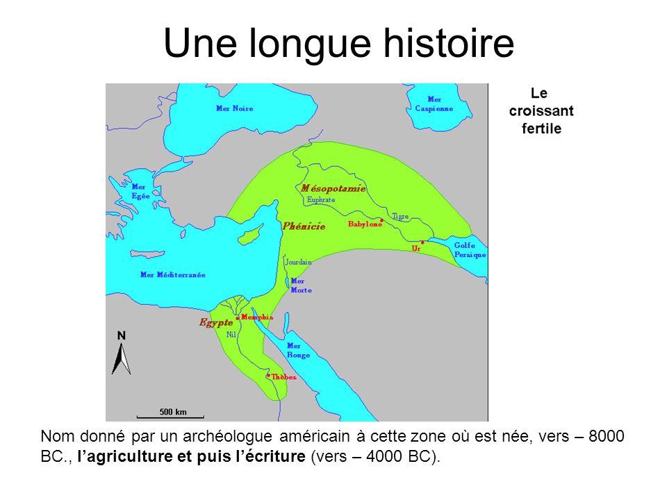 Une longue histoire Nom donné par un archéologue américain à cette zone où est née, vers – 8000 BC., lagriculture et puis lécriture (vers – 4000 BC).