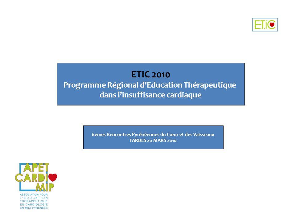 ETIC 2010 Programme Régional dEducation Thérapeutique dans linsuffisance cardiaque 6emes Rencontres Pyrénéennes du Cœur et des Vaisseaux TARBES 20 MAR