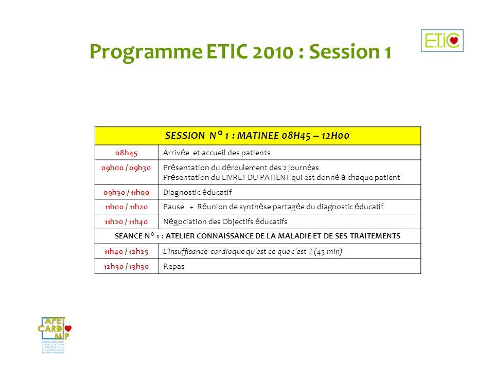 Programme ETIC 2010 : Session 1 SESSION N° 1 : MATINEE 08H45 – 12H00 08h45Arriv é e et accueil des patients 09h00 / 09h30Pr é sentation du d é rouleme