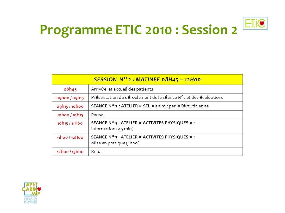 Programme ETIC 2010 : Session 2 SESSION N° 2 : MATINEE 08H45 – 12H00 08h45Arriv é e et accueil des patients 09h00 / 09h15Pr é sentation du d é rouleme
