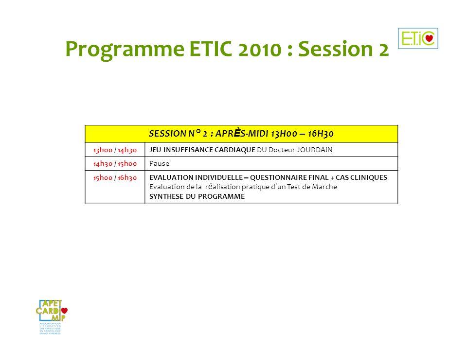 Programme ETIC 2010 : Session 2 SESSION N° 2 : APR È S-MIDI 13H00 – 16H30 13h00 / 14h30JEU INSUFFISANCE CARDIAQUE DU Docteur JOURDAIN 14h30 / 15h00Pau