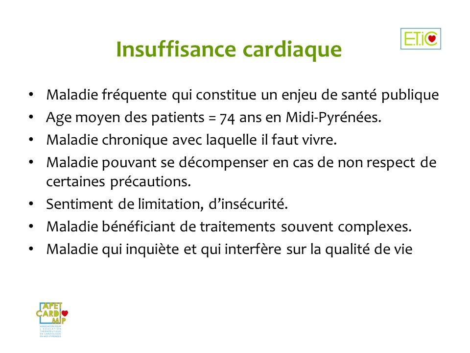 Insuffisance cardiaque Maladie fréquente qui constitue un enjeu de santé publique Age moyen des patients = 74 ans en Midi-Pyrénées. Maladie chronique