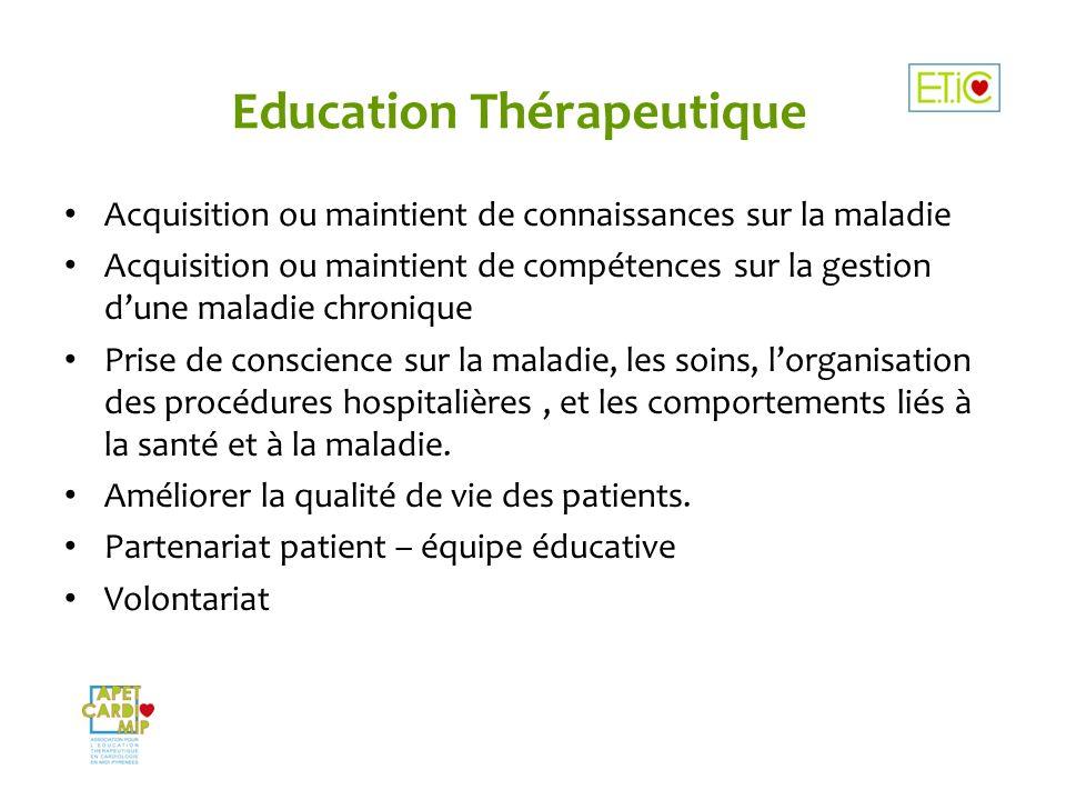 Education Thérapeutique Acquisition ou maintient de connaissances sur la maladie Acquisition ou maintient de compétences sur la gestion dune maladie c
