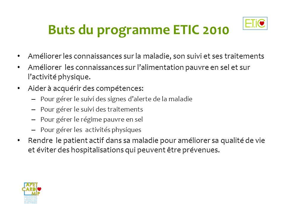 Buts du programme ETIC 2010 Améliorer les connaissances sur la maladie, son suivi et ses traitements Améliorer les connaissances sur lalimentation pau