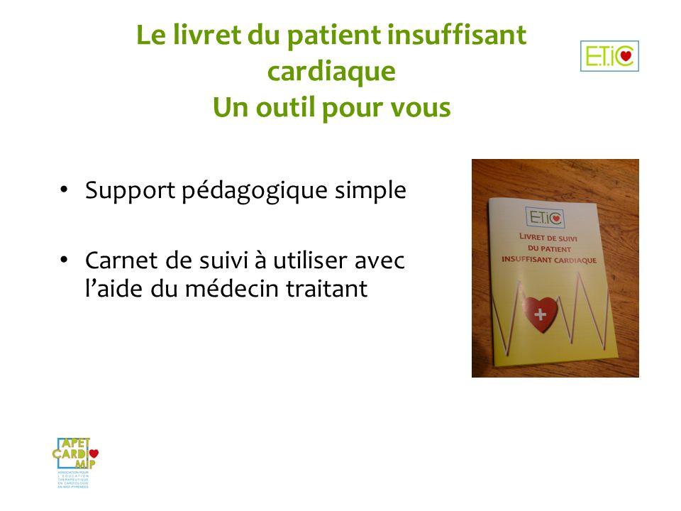 Le livret du patient insuffisant cardiaque Un outil pour vous Support pédagogique simple Carnet de suivi à utiliser avec laide du médecin traitant