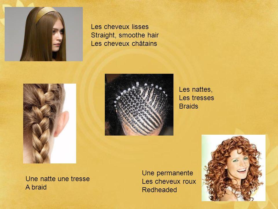 Les cheveux lisses Straight, smoothe hair Les cheveux châtains Les nattes, Les tresses Braids Une permanente Les cheveux roux Redheaded Une natte une