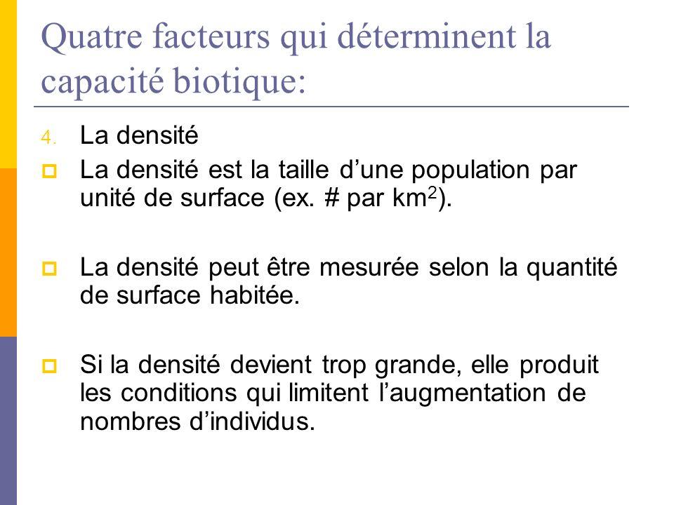 Quatre facteurs qui déterminent la capacité biotique: 4. La densité La densité est la taille dune population par unité de surface (ex. # par km 2 ). L